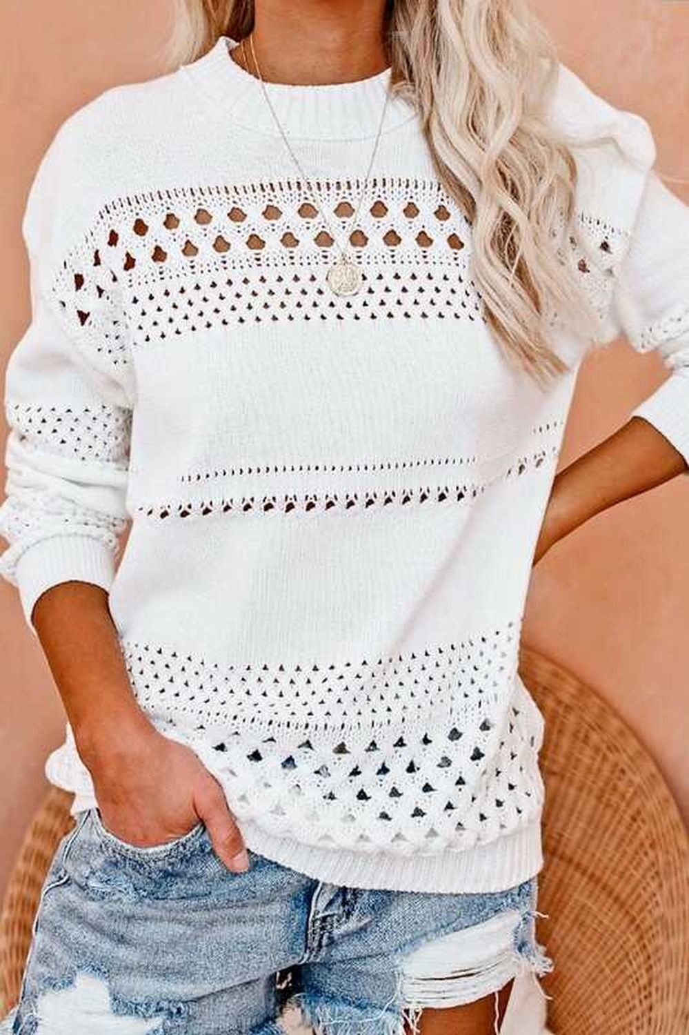 Hollow out detail loose fit sweater top