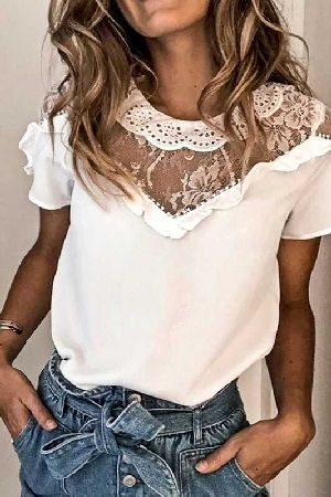 Lace Trim Detail Ruffle Blouse Top