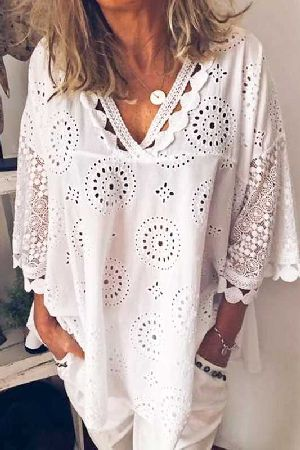 Lace hollow trim detail v-neck blouse top
