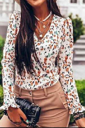 Leopard Printed With Ruffled Sleeve Top