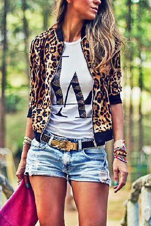 Leopard printed front zipper long sleeve bomber jacket