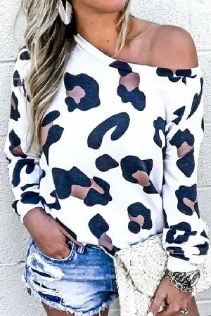 Long Sleeve leopard Print Loose Fit Top
