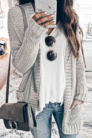Loose Fit Open FrontKnitted Sweater Cardigan
