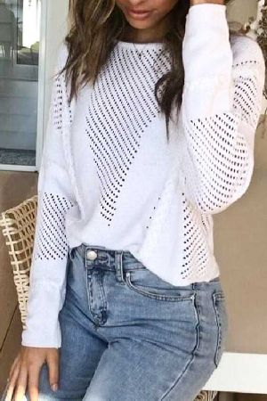Loose fit hollow out knitted sweater top