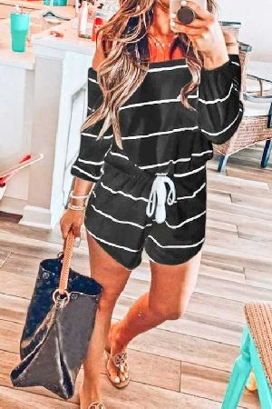 Off Shoulder Loose Fit Stripe Romper