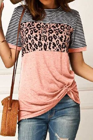 Short sleeve stripe with color block casual top