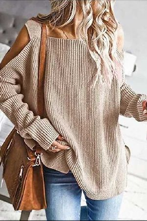 Shoulder Cutout Ribbed Knitted Loose Fit Sweater