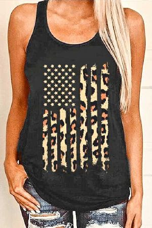 Sleeveless Animal Flag Casual Top