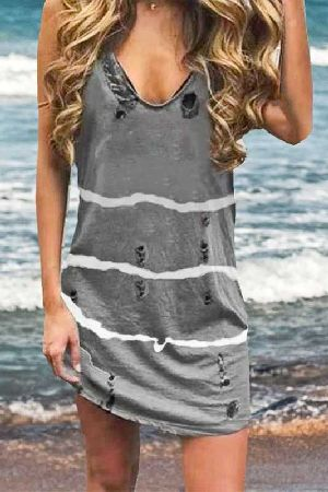 Sleeveless distressed dip-dyed loose fit mini dress