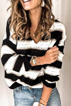 V neck stripe knitted sweater top
