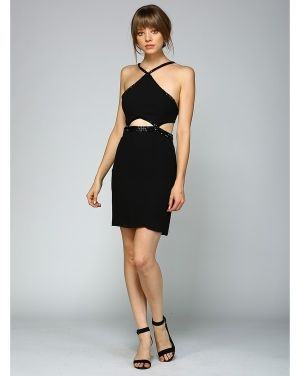 Jewel strap fitted backless dress