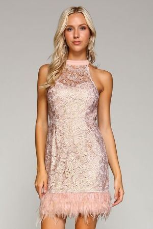 Mauve lace dress with feather trim