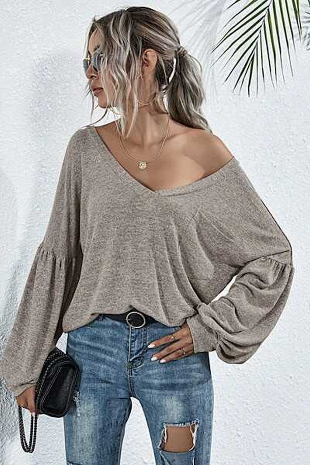 V Neck Bell Sleeve Top