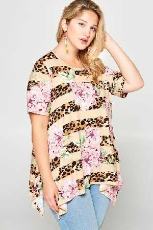 Floral Animal Striped Knit Tunic Top