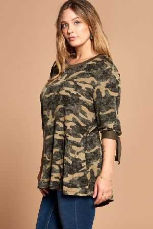 Tie Sleeves Camouflage Printed Top