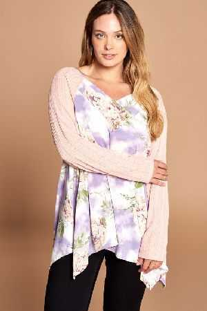 Floral Tie Dye Terry Top with Raglan Sleeves