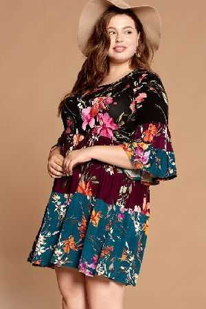Mixed Floral Printed Tiered Knit Dress