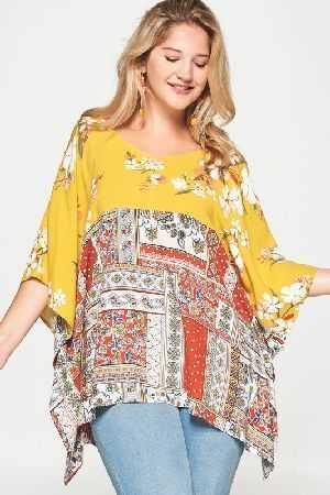Short Sleeve Mixed Printed Woven Top