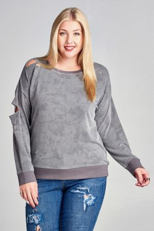 Distressed Cutout Mineral Washed Top