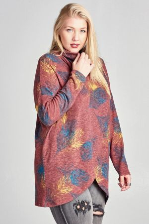 Feather Print Surplice Top with a Cowl Neck