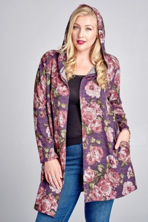 Floral print hooded long body cardigan