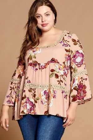Ribbon Back Tie Floral Babydoll Top