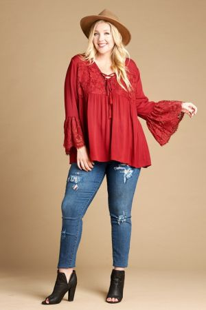 Solid Woven Lace Up Top With Lace Detail Marshas Clothing