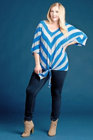 Tie front hem striped top