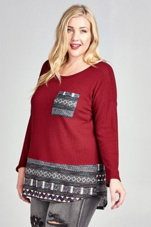 fed9badabd0d6 Waffle Knit Top with Tribal Print Contrast - PLus size