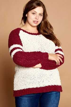 Color Block Popcorn Knit Sweater