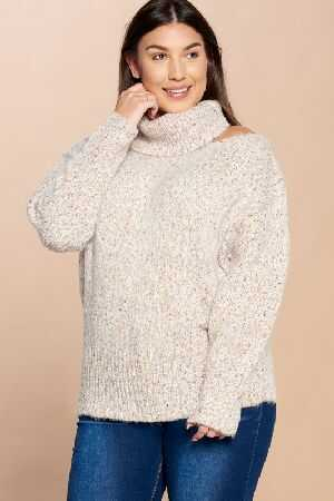 Cutout Multi Colored Threaded Sweater
