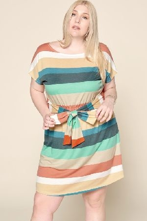 Waist tie multi color striped dress