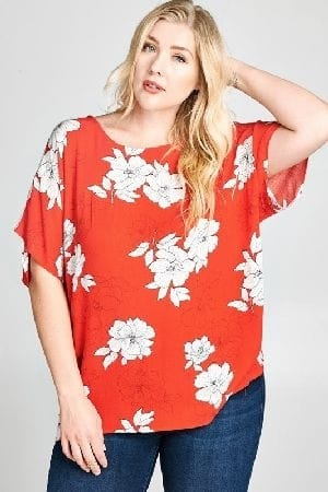Floral woven blouse with twist back