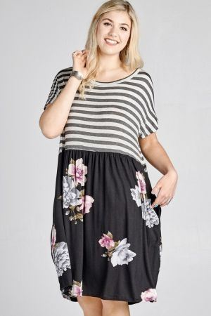 striped cross back dress with floral printed skirt