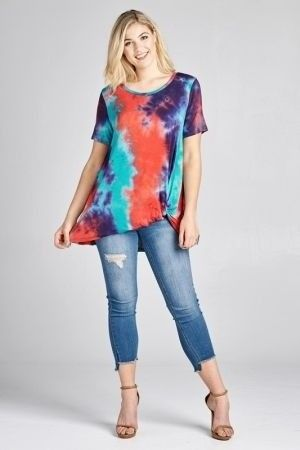 Tie dye knit short sleeve top