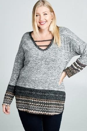 Tribal print detailed brushed knit sweater
