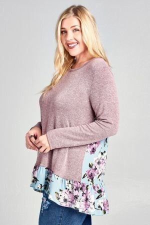 Two Tone Knit top with a Floral Contrast Back