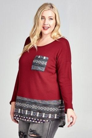 Waffle Knit Top with Tribal Print Contrast