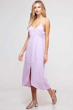 Button up woven midi dress