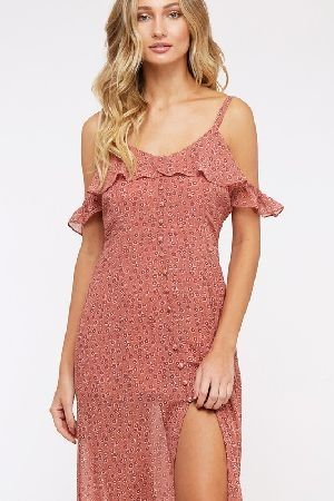 Flower print button front maxi dress