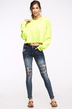 Neon color crop top