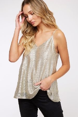 Sparkly metallic cami top