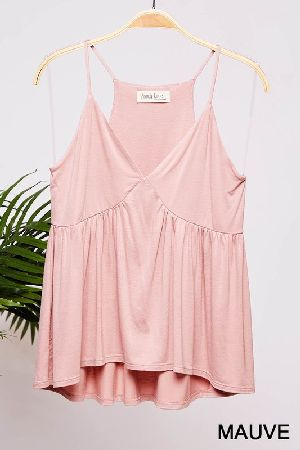 Solid flowy little cami in a babydoll silhouette