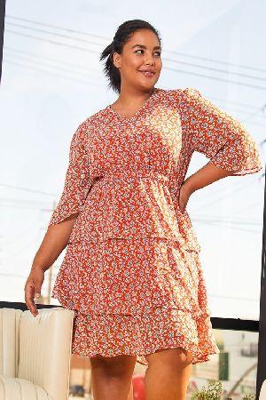Plus Size Floral Ruffle Chiffon Dress