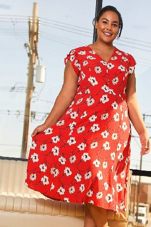 Plus Size Button Front V-Neck Print Dress