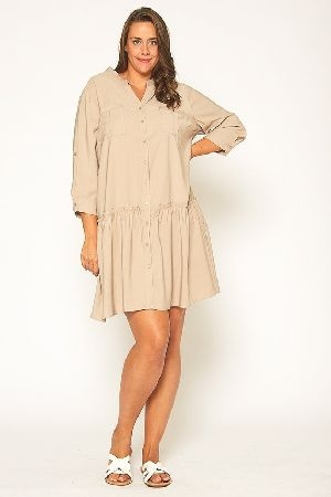Plus Size Ruffle End Button Up Midi Dress