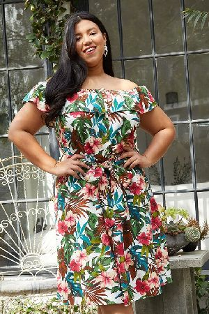 Plus Size Tropical Off Shoulder Button Down Dress