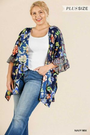 Floral Mixed Print Ruffle Bell Sleeve  Kimono