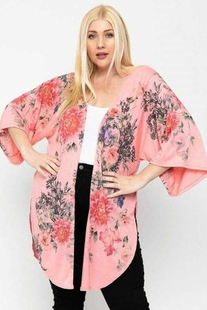 Coral Floral Print Long Body Cardigan