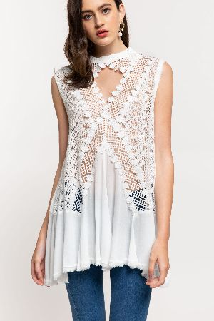 A feminine victorian inspired woven top